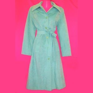 1970s vintage pastel long green coat size large